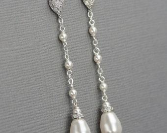 Long Pearl Dangle Earrings, Bridal Pearl Drop Earrings, Teardrop Pearl Earrings, Wedding Jewelry, Pearl and Rhinestone