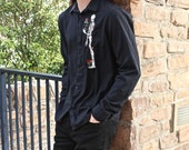 Skeleton And Rose Men's Button Down  Size Large It's Me Designs up-cycled rocker stage wear goth tattoo dress shirt