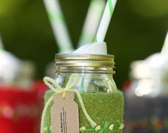Pint size Felted wool mason jar cozy set green pint size