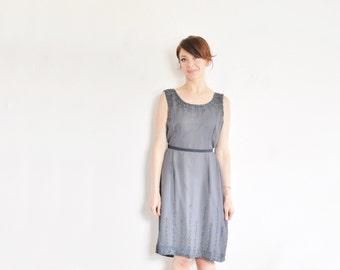 slate blue beaded shift dress . sheer art deco frock .large.extra large.xl .sale s a l e