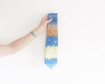 city scape 1970 necktie . retro town scene accessory . for Dad for Boyfriends etc .sale