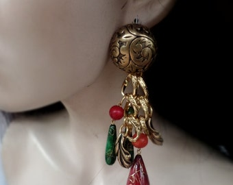 Vintage Large Drop Earrings in Green and Red with Gold tones