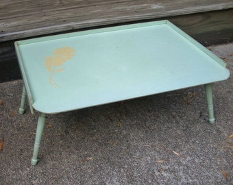 Vintage Light Green with Yellow Flower Folding Wood Bed Tray