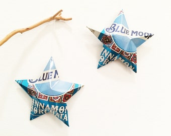Blue Moon Cinnamon Horchata Beer Stars, Christmas Ornaments, Upcycled Aluminum Can, Recycled, Belgian-style witbier