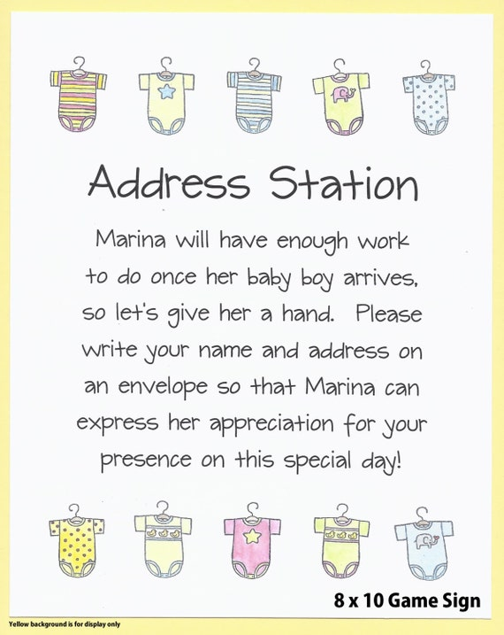 Baby Shower Please Mail Gifts ~ Envelope addressing table sign baby shower
