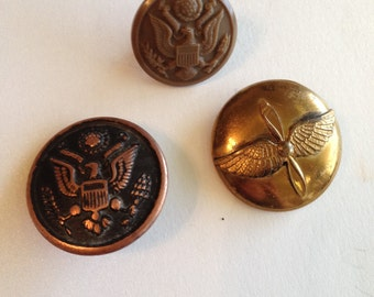 Military Buttons Army Air Corps The Art Metal Works Eagle Set of 3