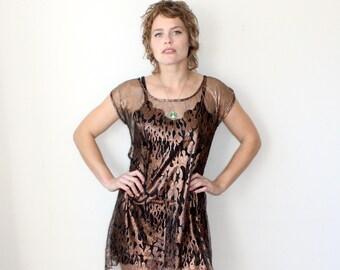 Flame Dress / Mesh Dress / Metallic Sheer Mini Dress