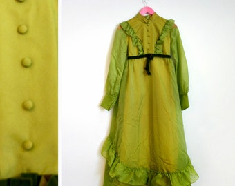 Vintage 1970s Citron Green High Neck Victorian Style Dress
