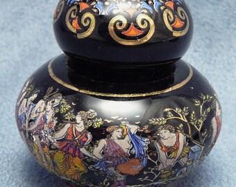 Vintage Solid Perfume Greek Gods Goddesses Ceramic Jar
