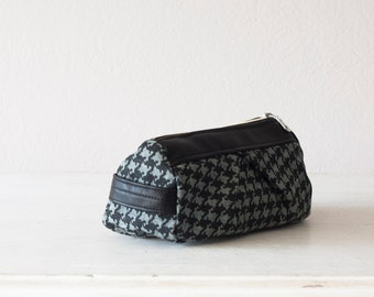 Makeup bag in black houndstooth denim and black leather, cosmetic case accessory bag travel case zipper-Estia Bag