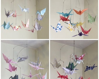 Custom Mobile, Crane Mobile, Paper Crane Mobile, Baby Mobile, Custom Nursery Decor, Bird Nursery Decor, Baby Shower Gift, Paper Crane Decor