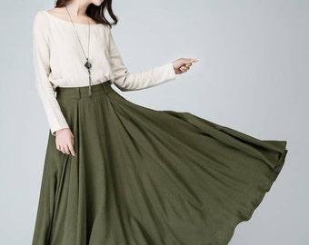 Circle skirt, maxi skirt, linen skirt, olive green skirt, full length skirt, long skirts for women, fitted waist skirt, pleated skirt 1482