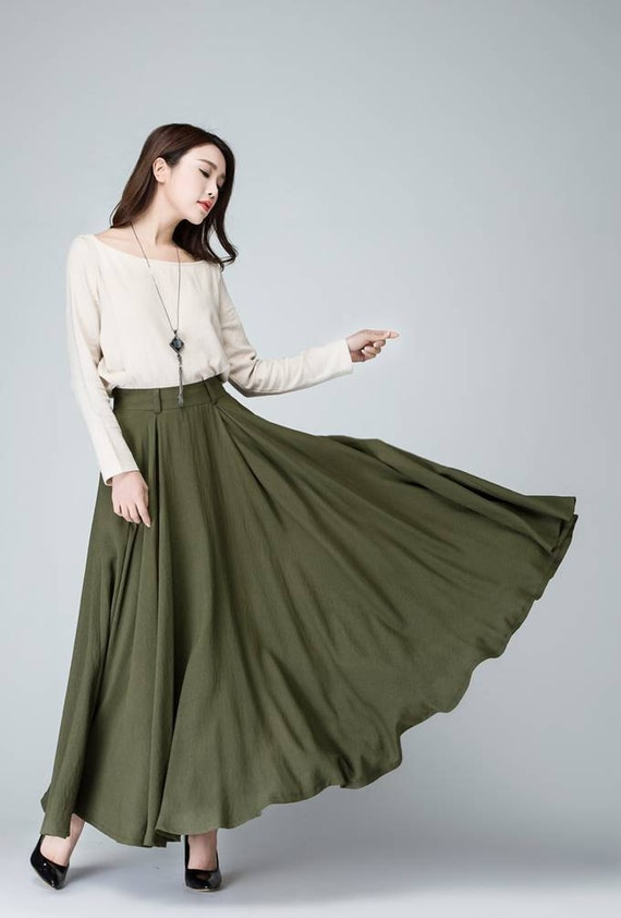 maxi skirt olive green skirt women long linen skirt with