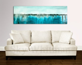 Large Original Abstract Painting Modern Art Panoramic Textured Oil Painting Blue Contemporary Artwork 20 x 60 by Sky Whitman