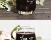 Stemless Bridesmaid Wedding Glasses Bride Glass Wine Glass Personalized Gifts for Bridesmaids Wedding Wine Glasses Bridal Party Glasses