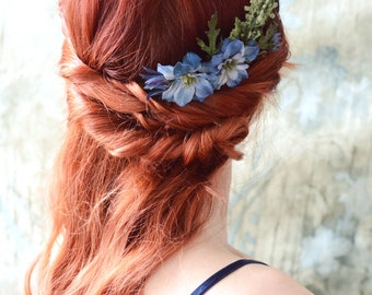 Blue flower headpiece, Wildflower comb, rustic hair accessory, woodland hair piece, floral comb, leafy comb