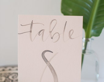Blush and Grey Watercolor Hand Lettering Table Numbers