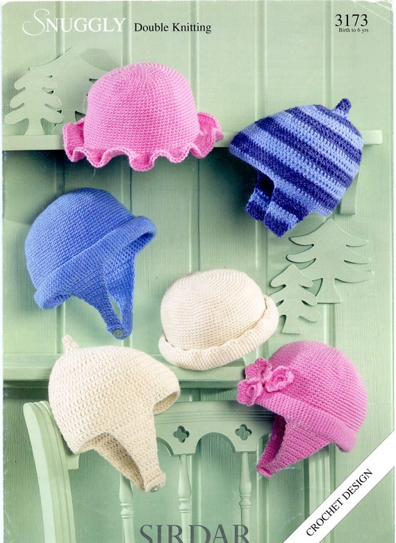 Sirdar Snuggly DK Crochet Pattern 3173 Crochet Hats 6 Designs