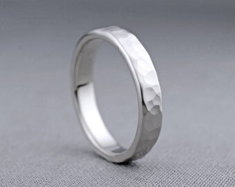 4mm 14K White Gold Textured Wedding Band   14K Gold Ring Hammered Wedding Ring