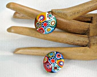 Millifiori Earrings Vintage 50s Jewelry Venetian Glass Colorful Flowers