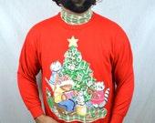 Vintage 80s Kitty Cat Teddy Bear Holiday Oversized Puffy XMAS Christmas UGLY Sweater