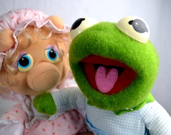 Vintage 1984 Miss Piggy and Kermit the Frog Stuffed Plush Muppet Babies Collectible Toy
