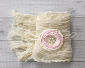 Ready To Ship, Chicaboo Cheesecloth newborn stretch wrap & Headband, newborn photo props, stretch wrap, newborn wrap,