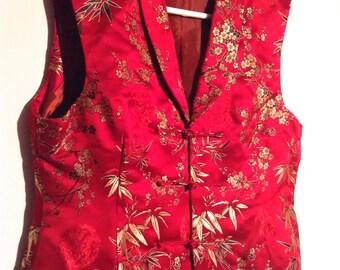 Boho Johnny Was style Asian style Vest. Satin brocade Floral design. Vintage Boho chic.  Lined Red  Gold Brocade.