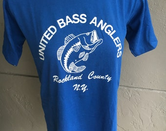 United Bass Anglers 1980s blue vintage tee shirt size small