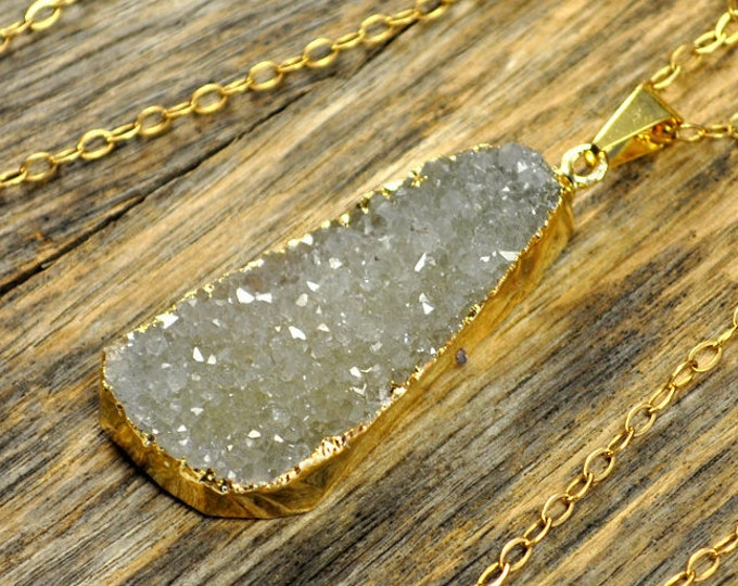 Large Druzy Necklace, Large Druzy Pendant, Druzy Jewelry, Druzy Gold Necklace, Druzy Natural Necklace, Druzy Pendant, 14k Gold Fill Chain