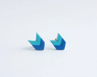 Blue Stud Earrings - small post earrings, simple studs, nickel free hypoallergenic earrings,  minimalist jewelry, geometric, nautical