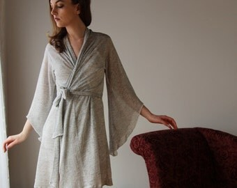 sheer linen robe with metallic sparkle - MICA lounge wear range - made to order