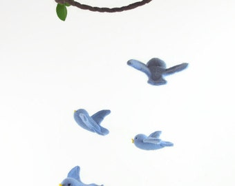 bird mobile, waldorf decor, nursery mobile, woodland mobile, blue birds