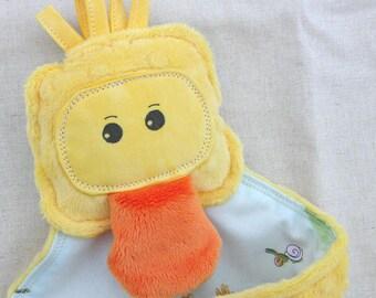 Duckling Duck Lovey Lovie Blanket - Yellow Dimple Minky - Gentle Rattle Sound