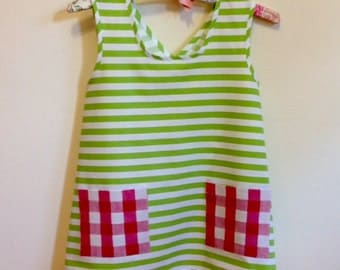Child's Cross Back Apron Dress Costume, Pippi Style Country Stripes & Checks, Size 2, 4, 6, 8, 10