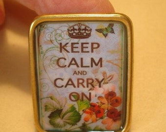 Keep Calm and Carry on Brooch KL Design