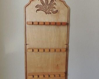 "Light Wood Eighteen Slot Spoon Rack. Wheat Design Lightweight Spoon Display. 19"" Tall Country Spoon Rack"