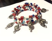 CLEARANCE - Bracelet - Memory Bracelet - Red, Turquoise, White, Cobalt Blue with Dangling Silver Beads