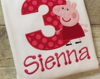 Peppa Pig Birthday Shirt,  Peppa the Pig Shirt, Personalized Peppa Shirt, Peppa Birthday, Pig Birthday Shirt, Custom Peppa Shirt, Peppa