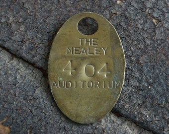 RaRe Vintage Brass Numbered Tag, Mealey Auditorium, Claim Check, Seat Number, No 404