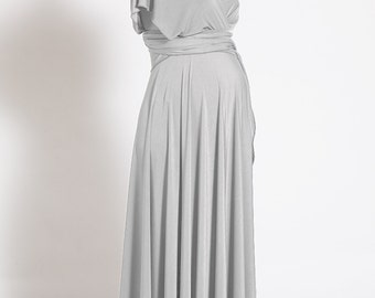 Pearl gray maternity dress, long infinity maternity dress, light grey maternity dress, pregnant evening dress, formal maternity dress grey
