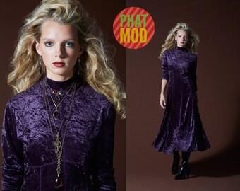 STUNNING Vintage 90s Purple Crushed Velvet Long Boho Dress!