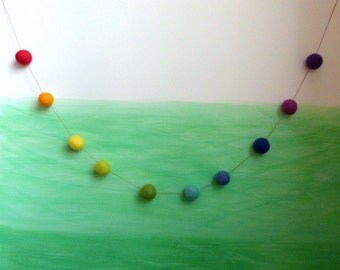 Rainbow Garland -  3cm big bright garland in happy colors of the rainbow - 10 felt balls in rainbow colors, 4.5 ft long rainbow party