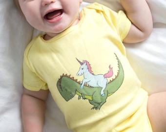 Unicorn Riding a Trex! Baby Bodysuit | Dinosaur | Unicorn | Psychedelic