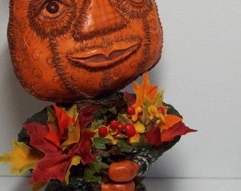 Fall Pumpkin Art Doll Ms Harvest Hand Sculpted Polymer Fall Décor Handmade Thanksgiving Decor