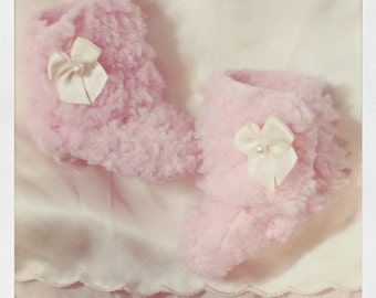 "SALE ** Minifee Unoa Narae : ""Lovie Boots"" Sheep Ugg Pink / Booties MSD BJD"