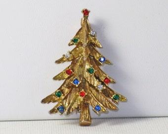 Vintage Gold Tone Multicolored Rhinestone Christmas Tree Brooch Pin (C-1)