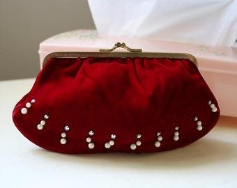 Vintage Red Velvet Clutch, Velvet Purse, Velvet Clutch, Evening Bag, Vintage Clutch, Vintage Purse, Red Clutch, Metal Frame Clutch, Clutch