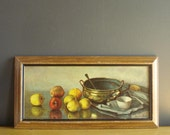 Vintage Still Life Print or Litho - Pretty Illustration of Fruit and Bowl - Kitchen Scene