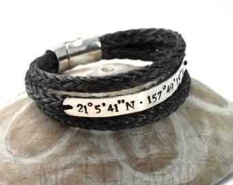3 turns larger spectra bracelet, 8mm wide silver plate, longitude latitude engraved, sailor coordinates bracelet, id bracelet, medic alert